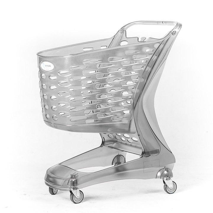 چرخ خرید فروشگاهی ۹۰ لیتری پلی کربنات شفاف
